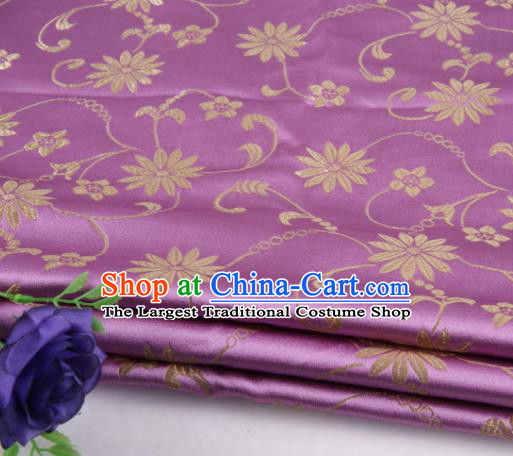 Asian Chinese Traditional Twine Lotus Pattern Violet Satin Brocade Fabric Tang Suit Silk Material