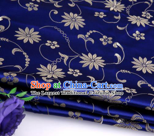 Asian Chinese Traditional Twine Lotus Pattern Royalblue Satin Brocade Fabric Tang Suit Silk Material