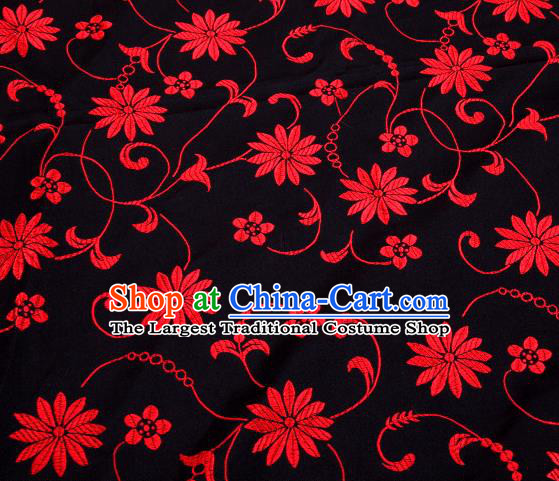 Asian Chinese Traditional Twine Lotus Pattern Black Satin Brocade Fabric Tang Suit Silk Material