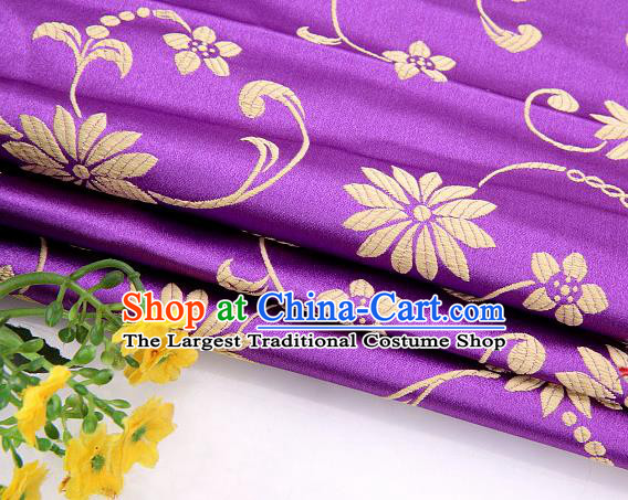 Asian Chinese Traditional Twine Lotus Pattern Purple Satin Brocade Fabric Tang Suit Silk Material