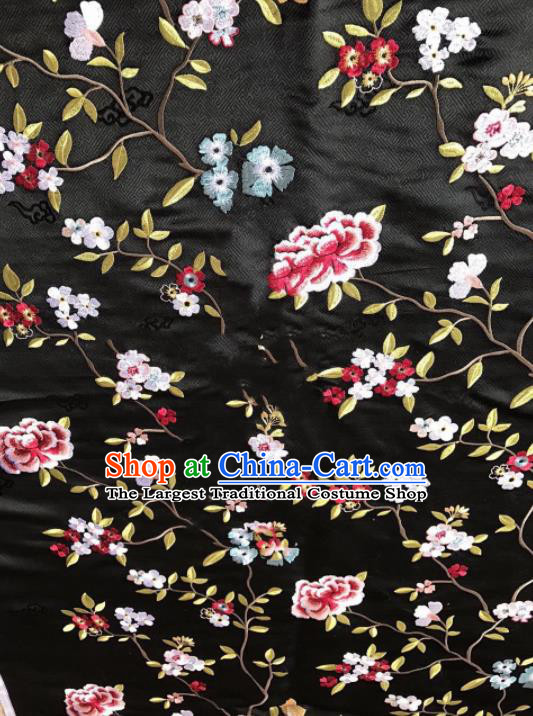 Asian Chinese Suzhou Embroidered Flowers Pattern Black Silk Fabric Material Traditional Cheongsam Brocade Fabric