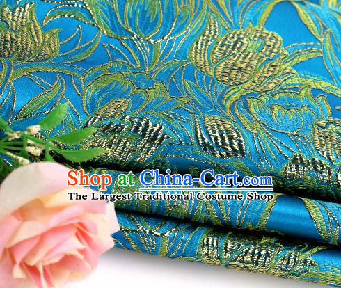 Asian Chinese Traditional Royal Tulip Pattern Blue Satin Nanjing Brocade Fabric Tang Suit Silk Material