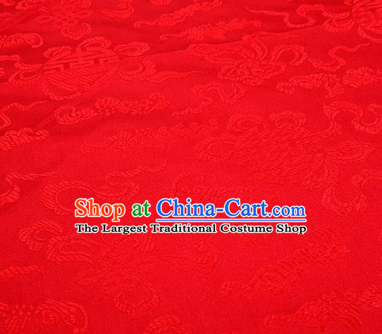Asian Chinese Traditional Pomegranate Pattern Red Satin Brocade Fabric Tang Suit Silk Material
