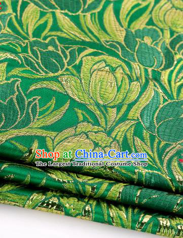 Asian Chinese Traditional Royal Tulip Pattern Green Satin Nanjing Brocade Fabric Tang Suit Silk Material
