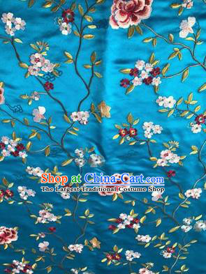 Asian Chinese Suzhou Embroidered Flowers Pattern Blue Silk Fabric Material Traditional Cheongsam Brocade Fabric