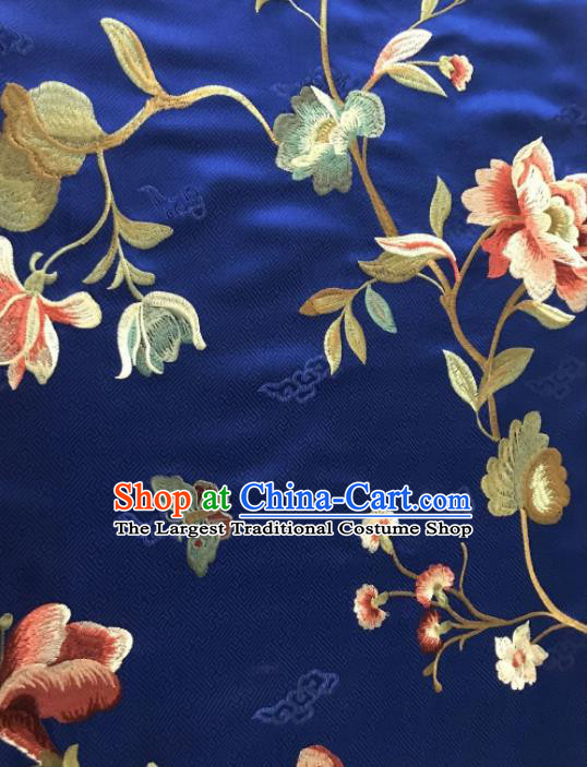 Asian Chinese Suzhou Embroidered Twine Peony Pattern Royalblue Silk Fabric Material Traditional Cheongsam Brocade Fabric