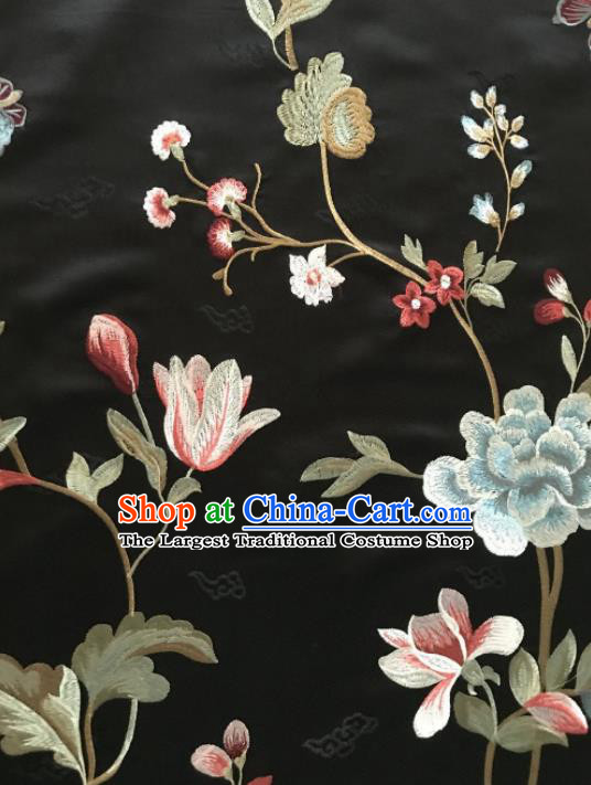 Asian Chinese Suzhou Embroidered Twine Peony Pattern Black Silk Fabric Material Traditional Cheongsam Brocade Fabric