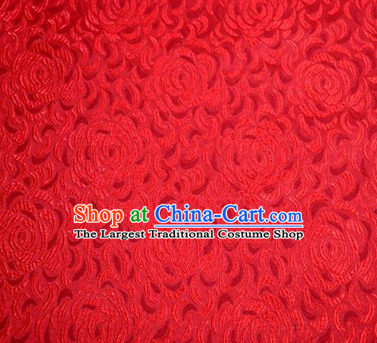 Asian Chinese Traditional Rose Pattern Red Satin Brocade Fabric Tang Suit Silk Material