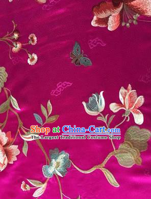 Asian Chinese Suzhou Embroidered Twine Peony Pattern Rosy Silk Fabric Material Traditional Cheongsam Brocade Fabric