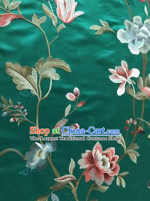 Asian Chinese Suzhou Embroidered Twine Peony Pattern Green Silk Fabric Material Traditional Cheongsam Brocade Fabric