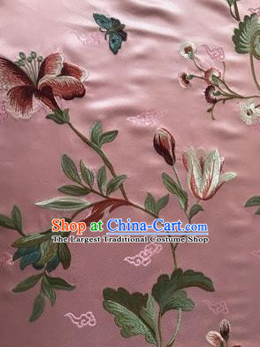 Asian Chinese Suzhou Embroidered Twine Peony Pattern Pink Silk Fabric Material Traditional Cheongsam Brocade Fabric