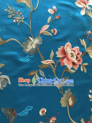 Asian Chinese Suzhou Embroidered Twine Peony Pattern Blue Silk Fabric Material Traditional Cheongsam Brocade Fabric