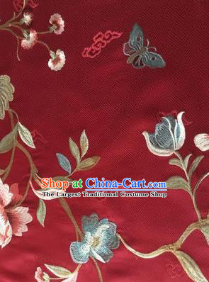 Asian Chinese Suzhou Embroidered Twine Peony Pattern Wine Red Silk Fabric Material Traditional Cheongsam Brocade Fabric