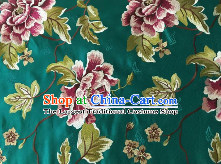 Asian Chinese Traditional Cheongsam Green Brocade Fabric Suzhou Embroidered Peony Pattern Silk Fabric Material