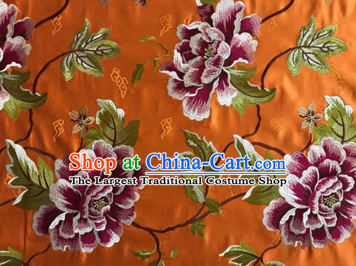 Asian Chinese Traditional Cheongsam Orange Brocade Fabric Suzhou Embroidered Peony Pattern Silk Fabric Material