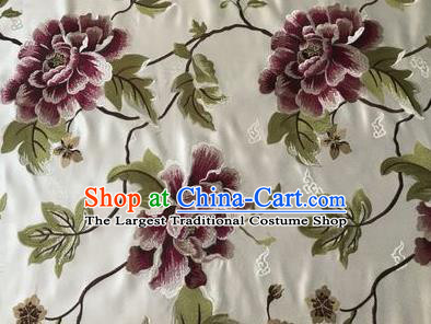 Asian Chinese Traditional Cheongsam White Brocade Fabric Suzhou Embroidered Peony Pattern Silk Fabric Material