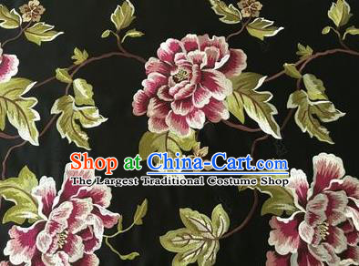 Asian Chinese Traditional Cheongsam Black Brocade Fabric Suzhou Embroidered Peony Pattern Silk Fabric Material