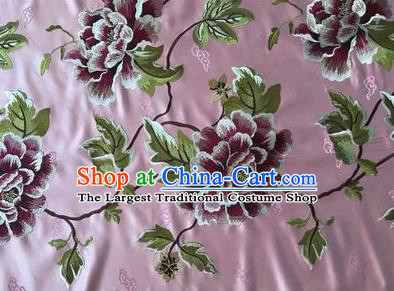 Asian Chinese Traditional Cheongsam Pink Brocade Fabric Suzhou Embroidered Peony Pattern Silk Fabric Material