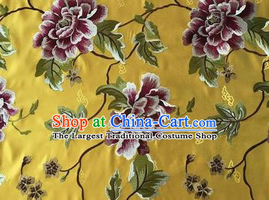 Asian Chinese Traditional Cheongsam Yellow Brocade Fabric Suzhou Embroidered Peony Pattern Silk Fabric Material
