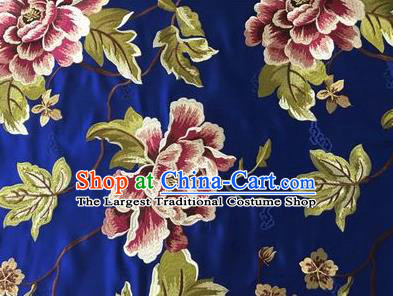 Asian Chinese Traditional Cheongsam Royal Blue Brocade Fabric Suzhou Embroidered Peony Pattern Silk Fabric Material