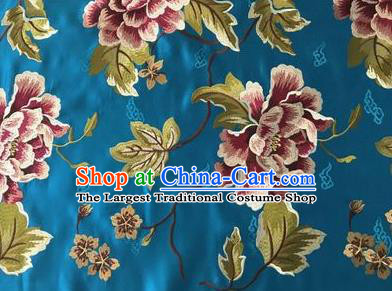 Asian Chinese Traditional Cheongsam Blue Brocade Fabric Suzhou Embroidered Peony Pattern Silk Fabric Material