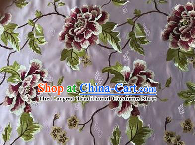 Asian Chinese Traditional Cheongsam Violet Brocade Fabric Suzhou Embroidered Peony Pattern Silk Fabric Material