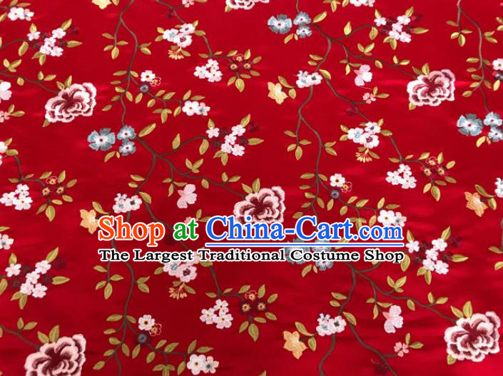 Asian Chinese Traditional Cheongsam Embroidered Flowers Pattern Red Brocade Fabric Suzhou Silk Fabric Material
