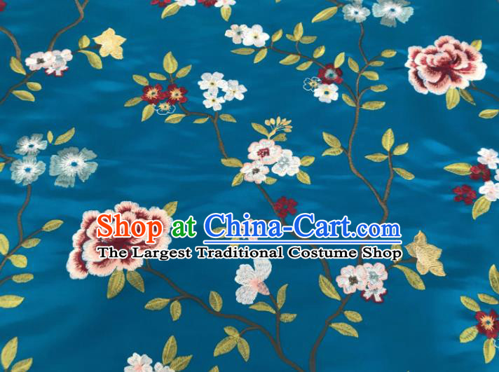 Asian Chinese Traditional Cheongsam Embroidered Flowers Pattern Blue Brocade Fabric Suzhou Silk Fabric Material