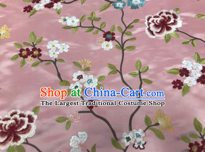 Asian Chinese Traditional Cheongsam Embroidered Flowers Pattern Pink Brocade Fabric Suzhou Silk Fabric Material