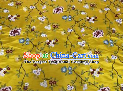 Asian Chinese Traditional Cheongsam Embroidered Flowers Pattern Yellow Brocade Fabric Suzhou Silk Fabric Material