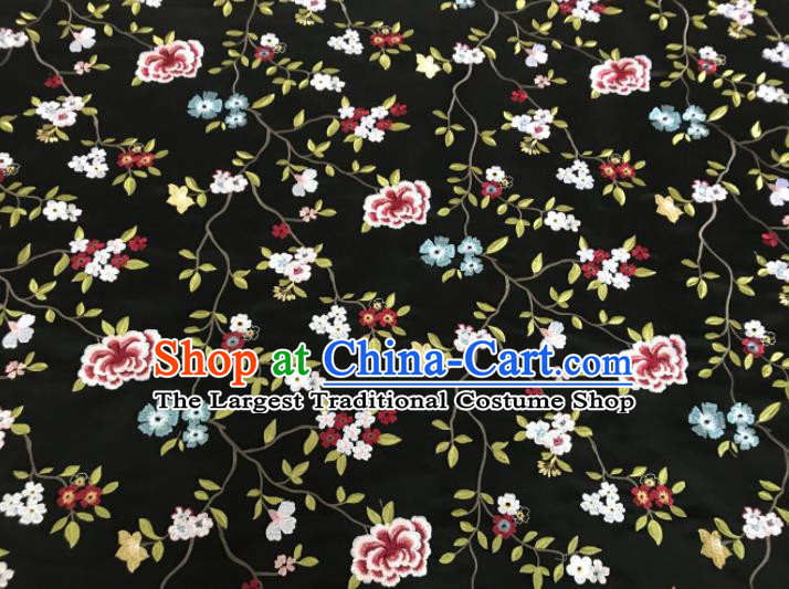 Asian Chinese Traditional Cheongsam Embroidered Flowers Pattern Black Brocade Fabric Suzhou Silk Fabric Material