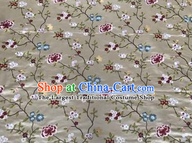 Asian Chinese Traditional Cheongsam Embroidered Flowers Pattern White Brocade Fabric Suzhou Silk Fabric Material
