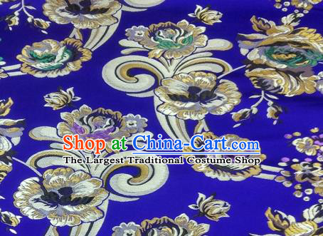 Asian Chinese Traditional Tang Suit Royal Flowers Pattern Royalblue Nanjing Brocade Fabric Silk Fabric Material