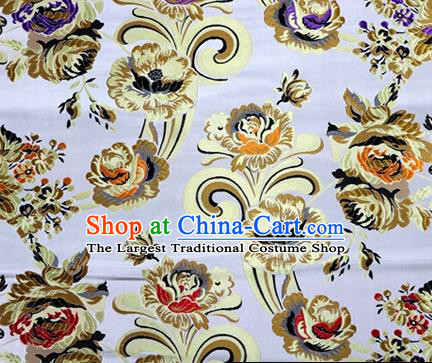 Asian Chinese Traditional Tang Suit Royal Flowers Pattern Argent Nanjing Brocade Fabric Silk Fabric Material