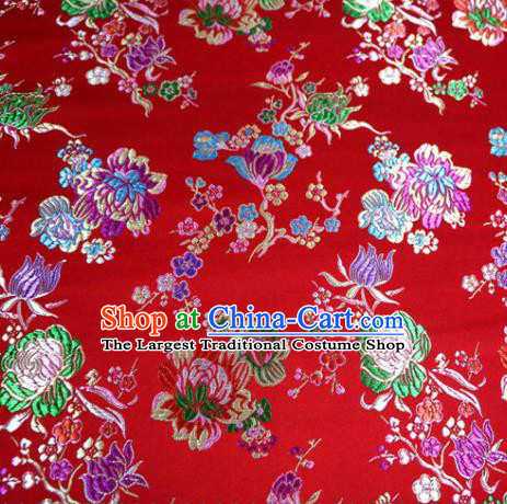 Asian Chinese Traditional Tang Suit Peony Pattern Red Nanjing Brocade Fabric Silk Fabric Material