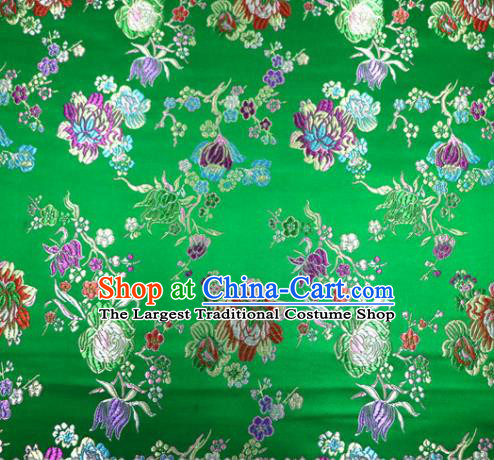 Asian Chinese Traditional Tang Suit Peony Pattern Green Nanjing Brocade Fabric Silk Fabric Material