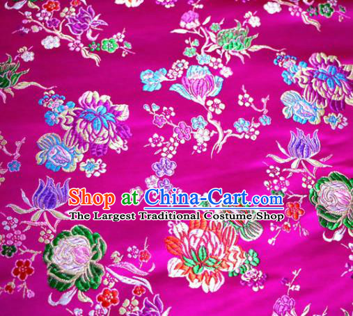 Asian Chinese Traditional Tang Suit Peony Pattern Rosy Nanjing Brocade Fabric Silk Fabric Material