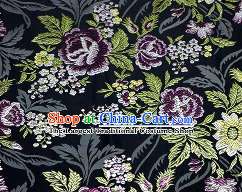 Asian Chinese Traditional Tang Suit Black Nanjing Brocade Fabric Royal Peony Pattern Silk Fabric Material