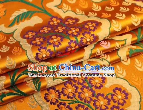 Asian Chinese Traditional Golden Nanjing Brocade Fabric Tang Suit Royal Pattern Silk Fabric Material