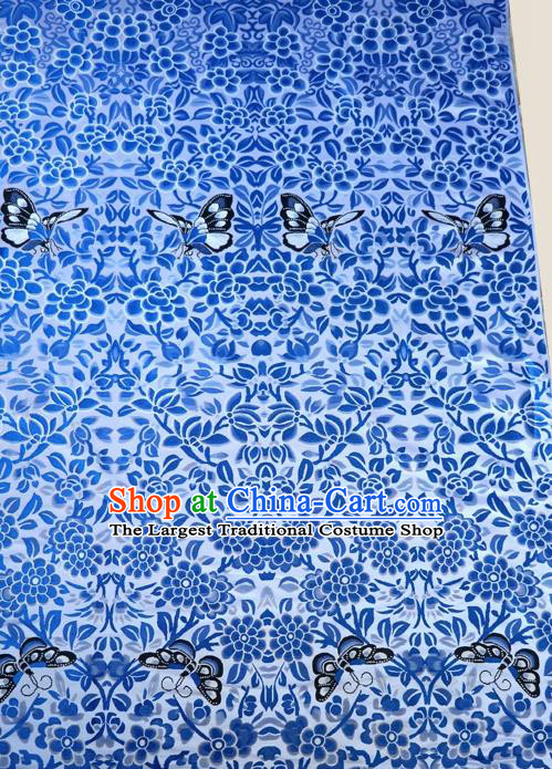 Asian Chinese Traditional Blue Brocade Fabric Tang Suit Royal Flowers Pattern Silk Fabric Material