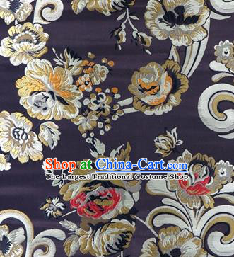 Asian Chinese Traditional Tang Suit Royal Flowers Pattern Deep Brown Nanjing Brocade Fabric Silk Fabric Material