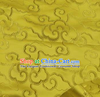 Asian Chinese Traditional Royal Auspicious Clouds Pattern Yellow Brocade Fabric Tang Suit Silk Fabric Material