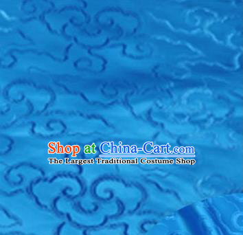 Asian Chinese Traditional Royal Auspicious Clouds Pattern Blue Brocade Fabric Tang Suit Silk Fabric Material