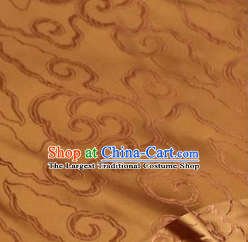 Asian Chinese Traditional Royal Auspicious Clouds Pattern Bronze Brocade Fabric Tang Suit Silk Fabric Material