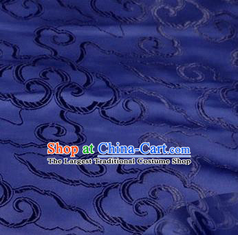 Asian Chinese Traditional Royal Auspicious Clouds Pattern Navy Brocade Fabric Tang Suit Silk Fabric Material