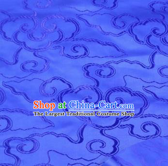 Asian Chinese Traditional Royal Auspicious Clouds Pattern Deep Blue Brocade Fabric Tang Suit Silk Fabric Material