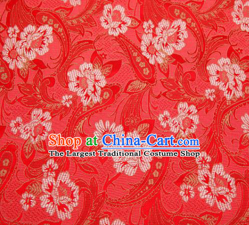 Asian Chinese Traditional Royal Lily Flowers Pattern Red Brocade Fabric Tang Suit Silk Fabric Material