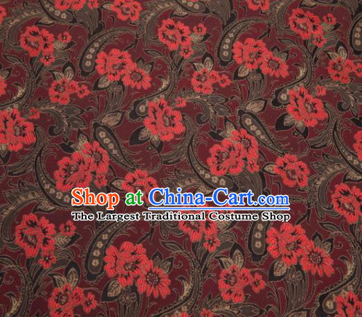 Asian Chinese Traditional Royal Lily Flowers Pattern Black Brocade Fabric Tang Suit Silk Fabric Material