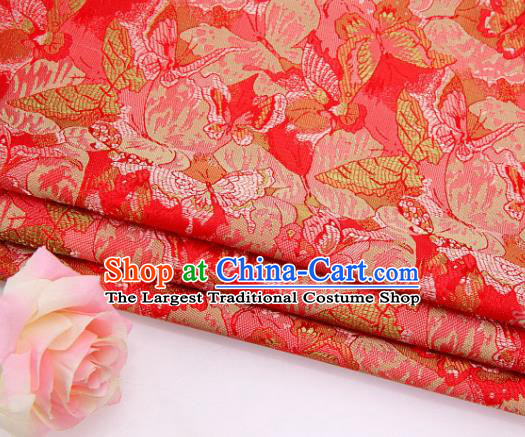 Asian Chinese Traditional Royal Butterfly Pattern Red Brocade Fabric Tang Suit Silk Fabric Material
