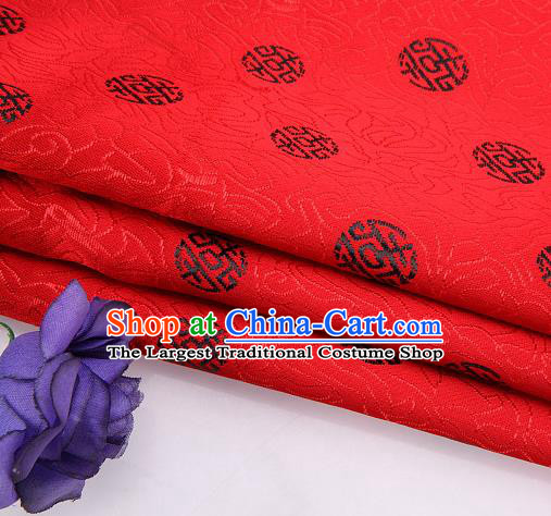 Asian Chinese Traditional Royal Black Longevity Pattern Red Brocade Fabric Tang Suit Silk Fabric Material